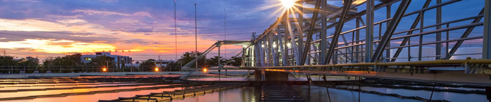 municipal wastewater treatment clarifier sunrise