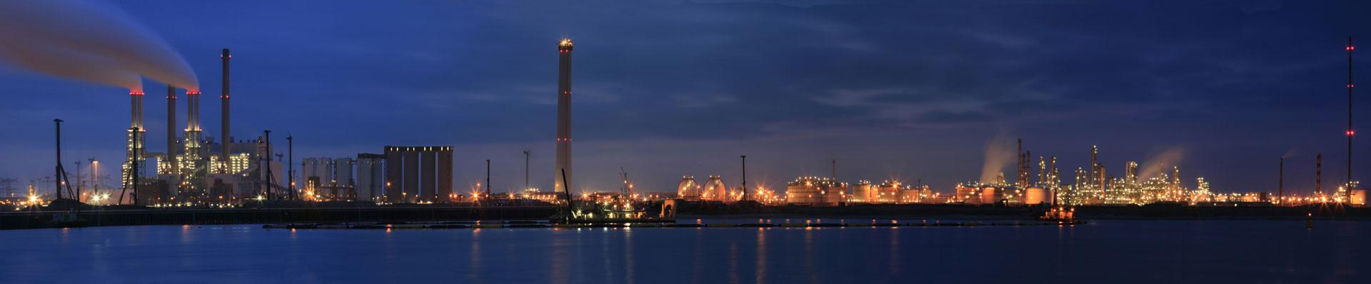 oil refinery skyline at night