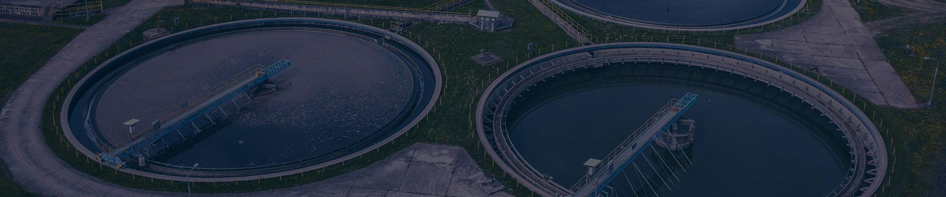 two municipal wastewater clarifiers