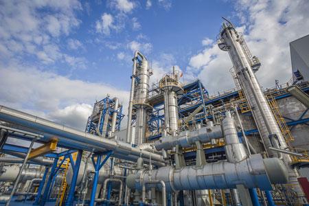 inside oil refinery